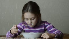 Stock Video Footage of girl with an appetite for eating