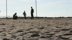 one boy jumping on the beach - stock footage