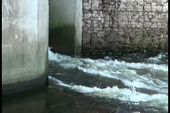 Water passes through a passage Stock Footage