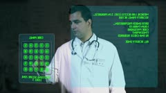 Young Doctor Accesing Futuristic Database Matrix Stock Footage