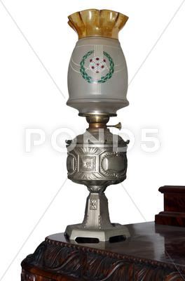 Stock photo of exquisite antique oil lamp.