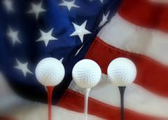 patriotic golf - stock photo