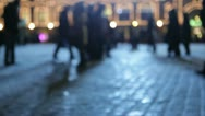 Stock Video Footage of Silhouettes people walking, crowd. Moscow, Red Square. Winter.