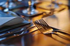 Table set for fine dining Stock Photos