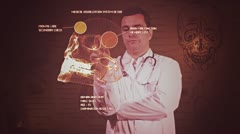 Young Doctor Touchscreen Medical Brain Examination Retro Stock Footage