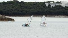 Sailing optimists Stock Footage