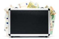 Money Baggage Isolated on a White Background Stock Photos