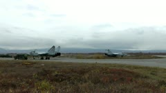 Two military fighters MiG-31 on technical inspection and fuelling Stock Footage