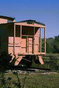 Orange caboose - stock photo