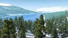 Mountains snow forest lake river Stock Illustration