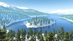 Stock Illustration of mountains snow forest lake river