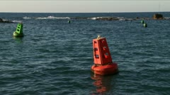 Navigation buoy on the sea Stock Footage