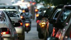 Traffic Jam in the city. Dusk. Stock Footage