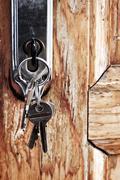 keys in lock - stock photo