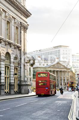 Stock photo of london street with view of royal exchange building