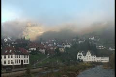 European town built along with nature - stock footage