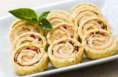 Mini sandwich spiral roll appetizers Stock Photos