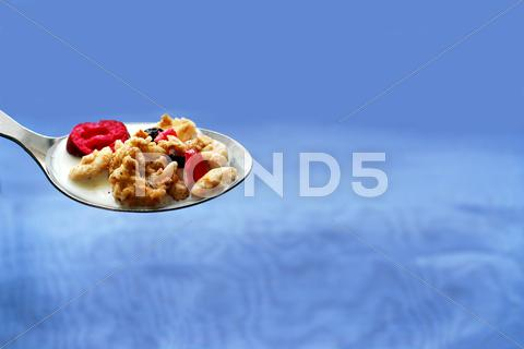 Stock photo of spoon of cereal
