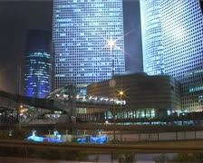 Office building highway night time-lapse. Azrieli. Stock Footage