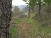Stock Video Footage of Father and daughter walking and playing on the forest.