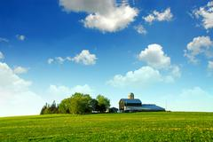 farmhouse and barn - stock photo