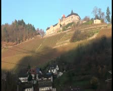 Hill full of vineyards and a beautiful old mansion on it's top Stock Footage