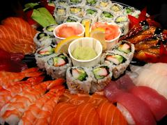Stock Photo of sushi party tray, closeup