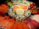 Stock Photo of sushi party tray, closeup
