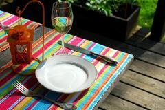 Stock Photo of table setting outside