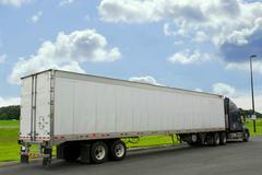 eighteen wheeler truck - stock photo
