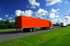 truck speed highway - stock photo