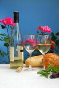 white wine with glasses - stock photo