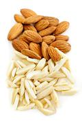 slivered and whole almonds - stock photo