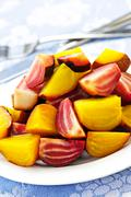 Roasted red and golden beets Stock Photos