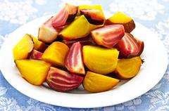 Stock Photo of roasted red and golden beets