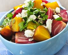 roasted red and golden beets - stock photo
