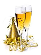 Stock Photo of champagne and new years decorations