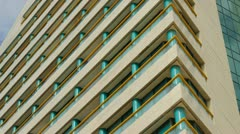 Glass building - Hotel-  crane up Stock Footage