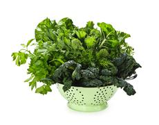 dark green leafy vegetables in colander - stock photo