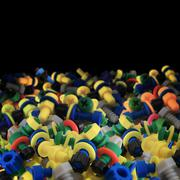 Toy plastic bolts and nuts Stock Photos