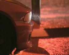 Car head light rainy night. Stock Footage