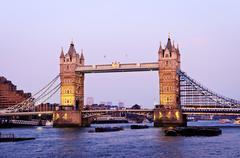 tower bridge in london at dusk - stock photo