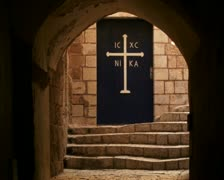 Old church door with cross Stock Footage