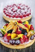 fruit and berry tarts - stock photo