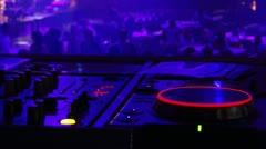 DJ equipment, people dancing background Stock Footage
