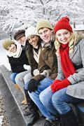 Joukko ystäviä ulkona talvella Kuvituskuvat