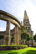 Rotunda of illustrious jalisciences and guadalajara cathedral in jalisco, mex Stock Photos