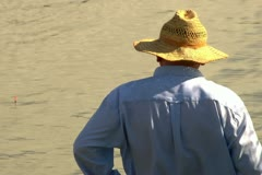 Fishermen fishing on the river. Stock Footage