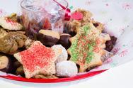 Festive holiday cookie tray Stock Photos