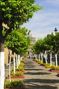 plaza tapatia leading to hospicio cabanas in guadalajara, jalisco, mexico - stock photo
